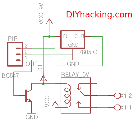 Schematic Motion Sensor Light Wiring Diagram from diyhacking.com